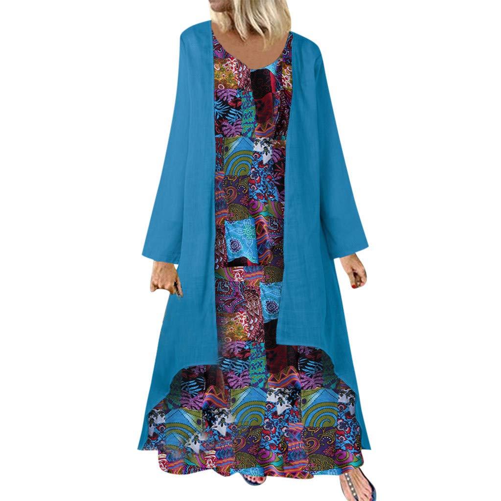 Womens Vintage Ethnic Style Print Long Dress Casual Long Sleeve Plus Size Loose O-Neck Cotton Linen Long Maxi Dress L-5XL (5X-Large, Blue) by Aritone