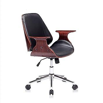 MY SIT Silla de Oficina Silla de Escritorio Diseño Retro Taburete Giratorio Vintage para la Oficina con Ruedas Altura ajustable - Sadie en Negro/Marrón: ...