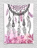 Indian Decor Tapestry by Ambesonne, Boho Style Native American Dreamcatcher with Feathers and Florets Illustration, Wall Hanging for Bedroom Living Room Dorm, 40WX60L Inches, Pink Grey