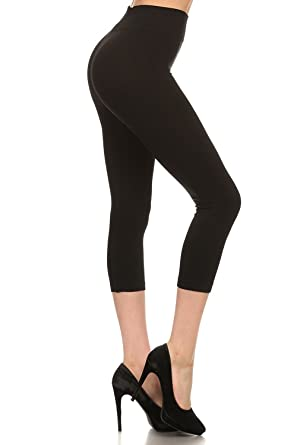 29b03644ffb0a2 Yelete Women's Solid Seamless Biker Capri Full Length Leggings,Capri -  Black,One Size