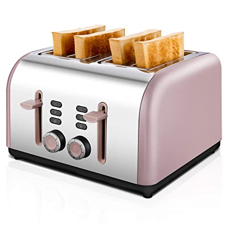 Extra Wide Toaster 4 Slice Stainless Steel with Defrost/Reheat/Cancel/Quick Buttons 7 Browning Settings Pink 4 Slice toaster 1400W