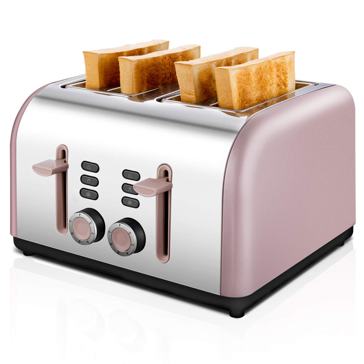 4 Slice Toaster, CUSIBOX Stainless Steel Toaster Four Wide Slots with 7 Bread Browning Settings, REHEAT/DEFROST/CANCEL Function, 1400W, Pink Gold