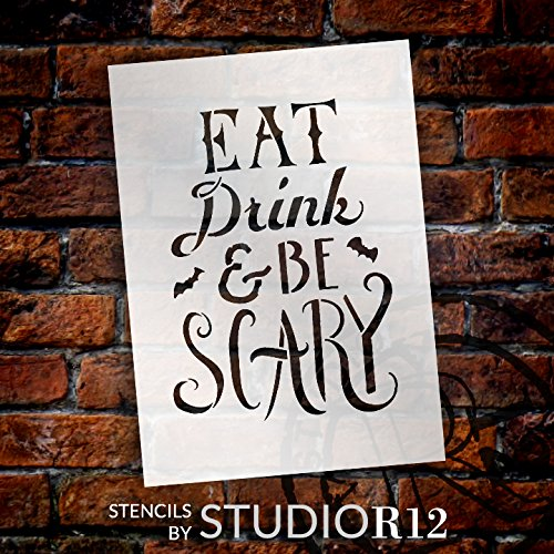 Scary Halloween Cut Out Templates (Hand Drawn Eat, Drink, and Be Scary Halloween Stencil - 7