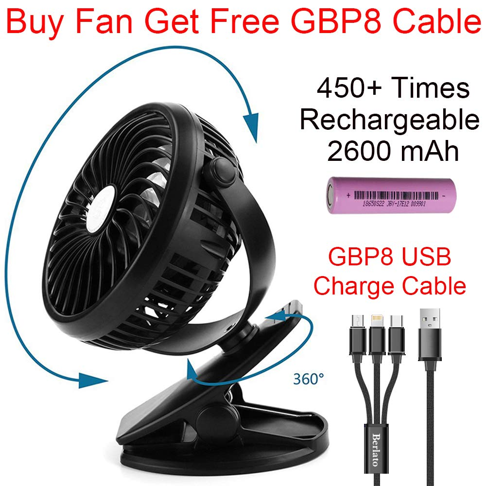 Berlato USB Kids Baby Stroller Clip on Fan with 2018 New Rechargeable Battery 2600mAH for 2.5 Hours High Speed Portable Cooling Fans for Home, Outdoor, Pushchair (Black) HYH 5HY001