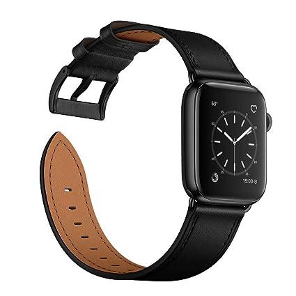 Arktis Correa de Piel Compatible con Apple Watch 42/44mm (Series 1, Series 2, Series 3, Series 4, Series 5) con una Hebilla y Conectores de Acero ...