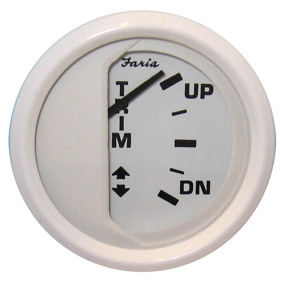 Faria Dress White 2'' Trim Gauge (J/E/Suzuki Outboard)
