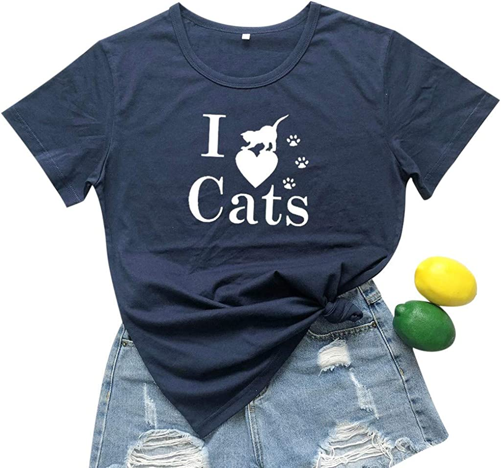 Women Shirts with Sayings I Love Cat Funny Cute Short Sleeve Blouses Plus Size Breathable Pullover Tunic Plain Tops