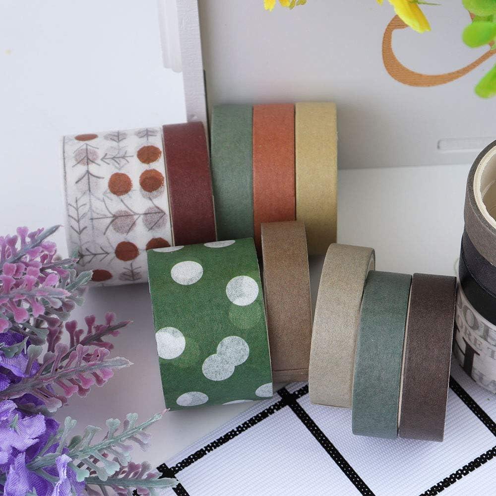 Planners Bullet Journals Scrapbooking Writable Decoration Tape for Arts DIY Crafts 100 Rolls Vintage Washi Tape Set Wrapping NogaMoga Basic Collection 10mm//25mm Wide Solid Color Masking Tapes