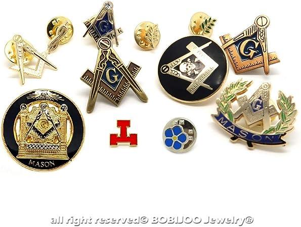 BOBIJOO Jewelry - Mucho Juego de 12 Pines de la Masonería Acacia Nudo Soporte de Compás no-me-Olvides G: Amazon.es: Equipaje