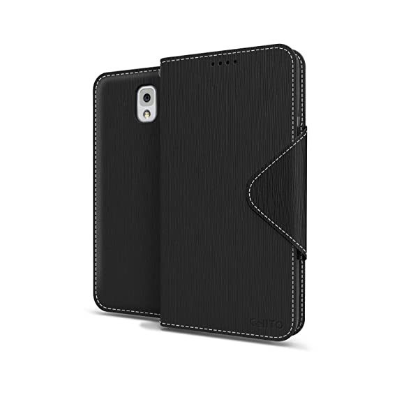 brand new 6225c 2cd43 Black Samsung Galaxy Note 3 Wallet Case; Best Design with Coolest Premium  [PU/Faux Leather] with Stand Feature and Magnetic Flap Closure; Slim Wallet  ...