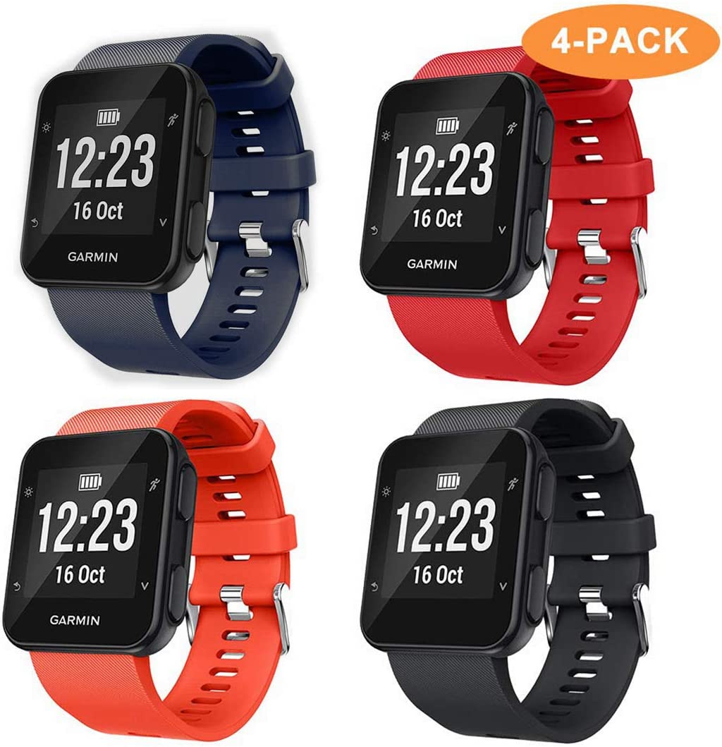 Junboer Compatible with Forerunner 35 Bands Soft Silicone Replacement Watch Band Sport Strap for Forerunner 35 Smartwatch 4 Pack, ...