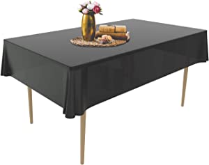 Puricon 12 Pack Disposable Plastic Tablecloths 54 x 108 Inch Premium Rectangle Table Cover -Black