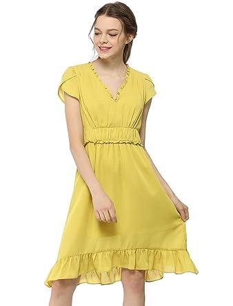 c571aa76344c Allegra K Women s V Neck Petal Short Sleeves Empire Pleated Waist Elegant  Chiffon A-Line Midi Dress at Amazon Women s Clothing store