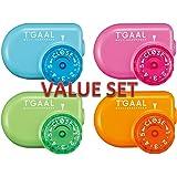 Kutsuwa STAD Angle Adjustable Pencil Sharpener T'GAAL, Light Blue / Pink / Green / Orange 4 Colors Set