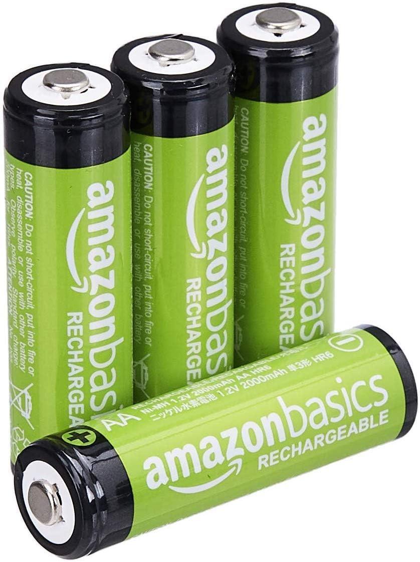 Amazon Basics - Pilas AA recargables, precargadas, paquete de 4 (el aspecto puede variar)