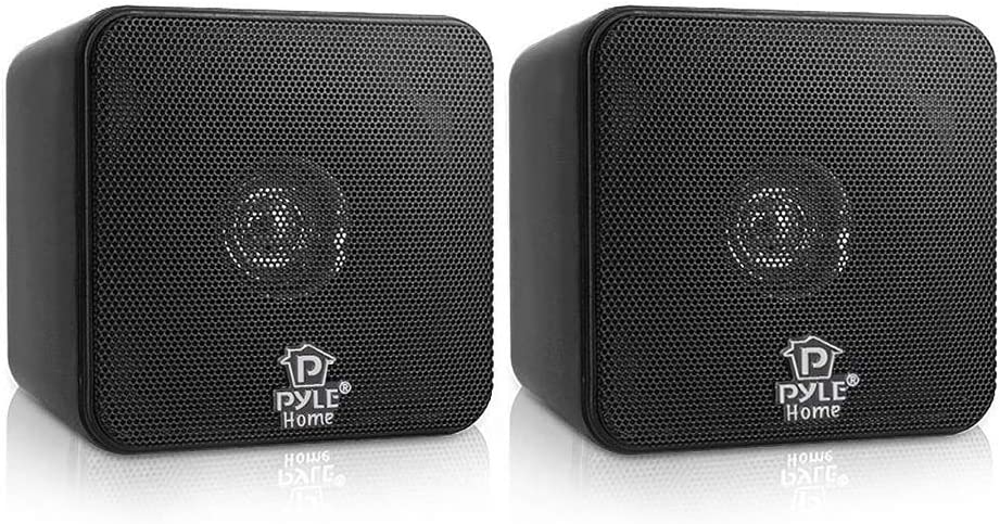 Pyle PCB4BK Full Range 4 Inch 200 Watt Mini Cube Bookshelf Stereo Speakers for Home Theater Surround Sound System with Video Shield, Black (4 Pack)