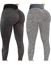2 st Tik Tok-leggings med rumplyft för kvinnor. Yogabyxor med hög midja och bubblig höftlyft, träningsbyxor