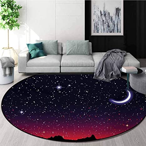 Amazon Com Night Carpet Gray Round Area Rug Red Sky At Night With Starry Landscape And Mountains Astrology Astronomy Pattern Floor Seat Pad Home Decorative Indoor Diameter 51 Inch Indigo Magenta Black Kitchen