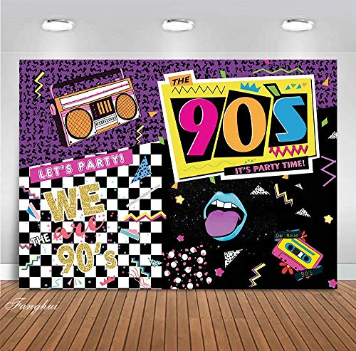 Fanghui 7x5ft I Love The 90s Them Party Photograph Backdrop Hip Hop Rock Music Dance Disco Wall Colorful Background 90's Adult Birthday Event Party Banner Supplies Photo Booth Props