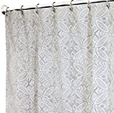 Extra Long Shower Curtain for Bathroom Unique Cool Gray and White Fabric 96 Inch