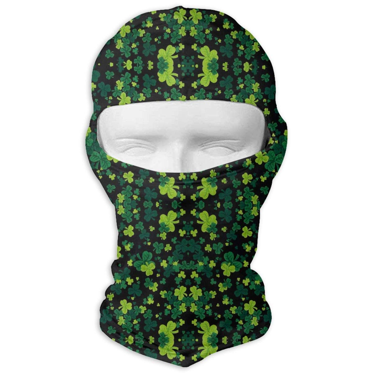 Xukmefat St Patrick\'s Party Shamrock Balaclava UV Protection Windproof Ski Face Masks for Cycling Outdoor Sports Full Face Mask Breathable