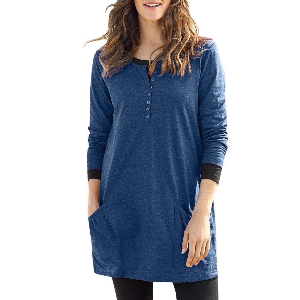 NUWFOR Slim Tunic Tops Womens Long Sleeve Button Round Neck Casual Shirt with Pockets for Winter/Fall(Blue,S)