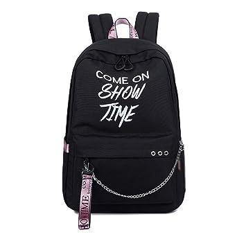 Meaningg Moda luminoso mujeres mochilas diarias estudiante universitario mochilas reflectante mochila para las niñas mochila escolar Black with pink 30(cm) ...