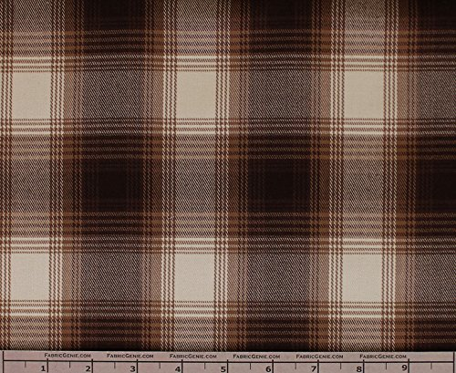 Grant Poly Rayon Plaid Stretch Suiting Fabric, Stretch Suiting Fabric, Suiting Fabric-BROWN (Brown Suiting)