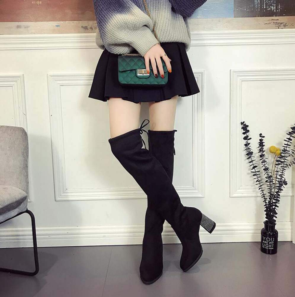 Mamrar Thigh High Boot Stretch Stovepipe Boots 8Cm Chunkly Heel Party Dress Boot Women Fashion Pointed Toe Drawstring Knight Boot EU Size 34-39