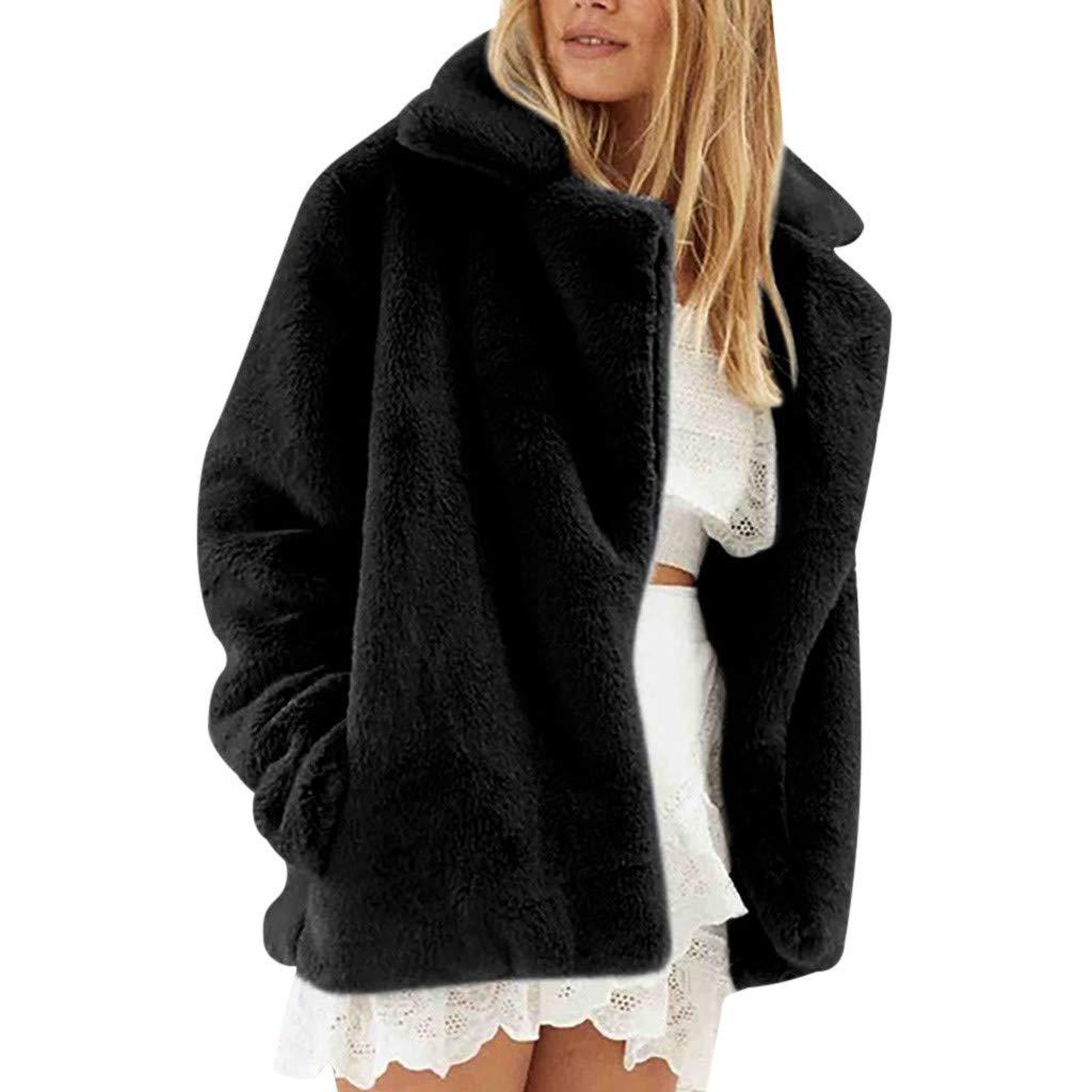 perfectCOCO Fashion Outerwear Women Autumn Winter Warm Jackets Faux Fur Coat Long Sleeve Lapel Plush Short Coat Black by perfectCOCO