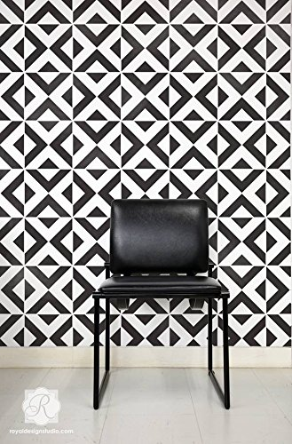All The Angles Large Tile Wall Stencil For Painting Geometric Or