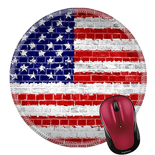 Liili Round Mouse Pad Natural Rubber Mousepad An image of the United States of America flag painted on a wall in an urban location IMAGE ID ()