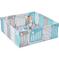 LONTEK Parque Infantil Bebé Plegable de 18 Paneles, Corralito Bebé de HDPE, con Panel de Puerta y Juguete y Pelotas para…