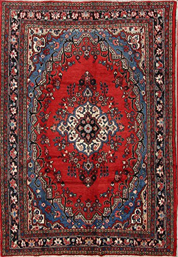 Floral Hamedan Hand Knotted Vintage Persian Area Rug For Living Room 7x10 (9' 9'' X 6' (Hamedan Persian Hand Knotted Rug)