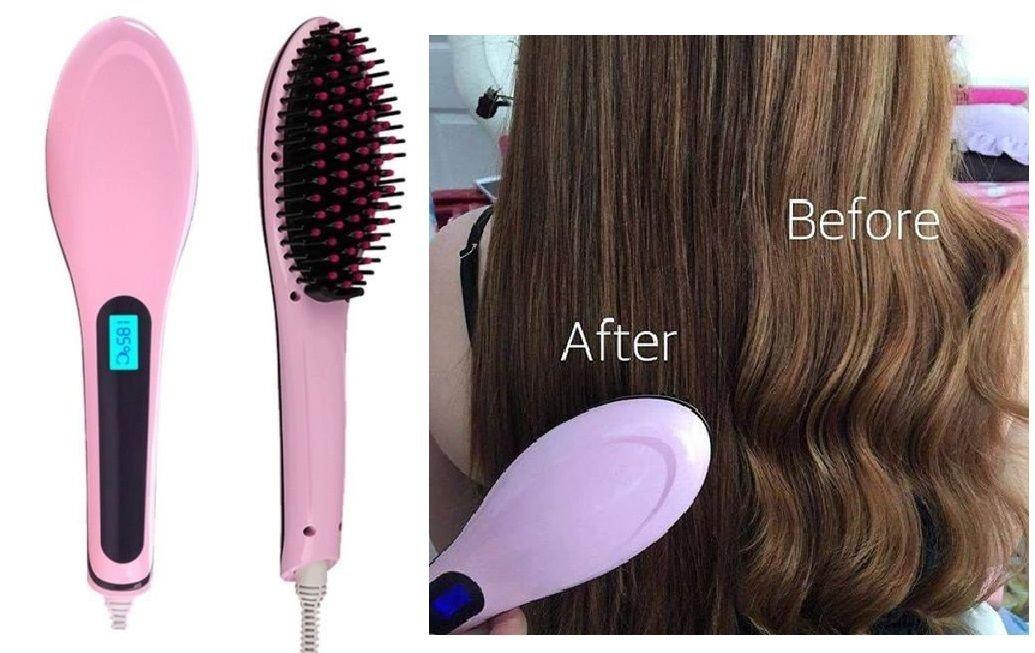 takestop - Alisador de pelo cepillo eléctrico de energía de ionización, pantalla LCD y enchufe: Amazon.es: Electrónica