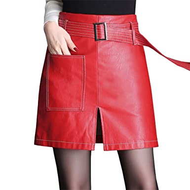 DISSA SK6365 Mini Rock - Falda de Piel sintética para Mujer Rojo ...