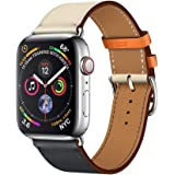 LeafBoat Soft Stitching Color Leather Replacement Band Compatible with Apple Watch Series 4 44mm Series 3 Series 2 Series 1 42mm Single Tour- Indigo/White Swift Leather