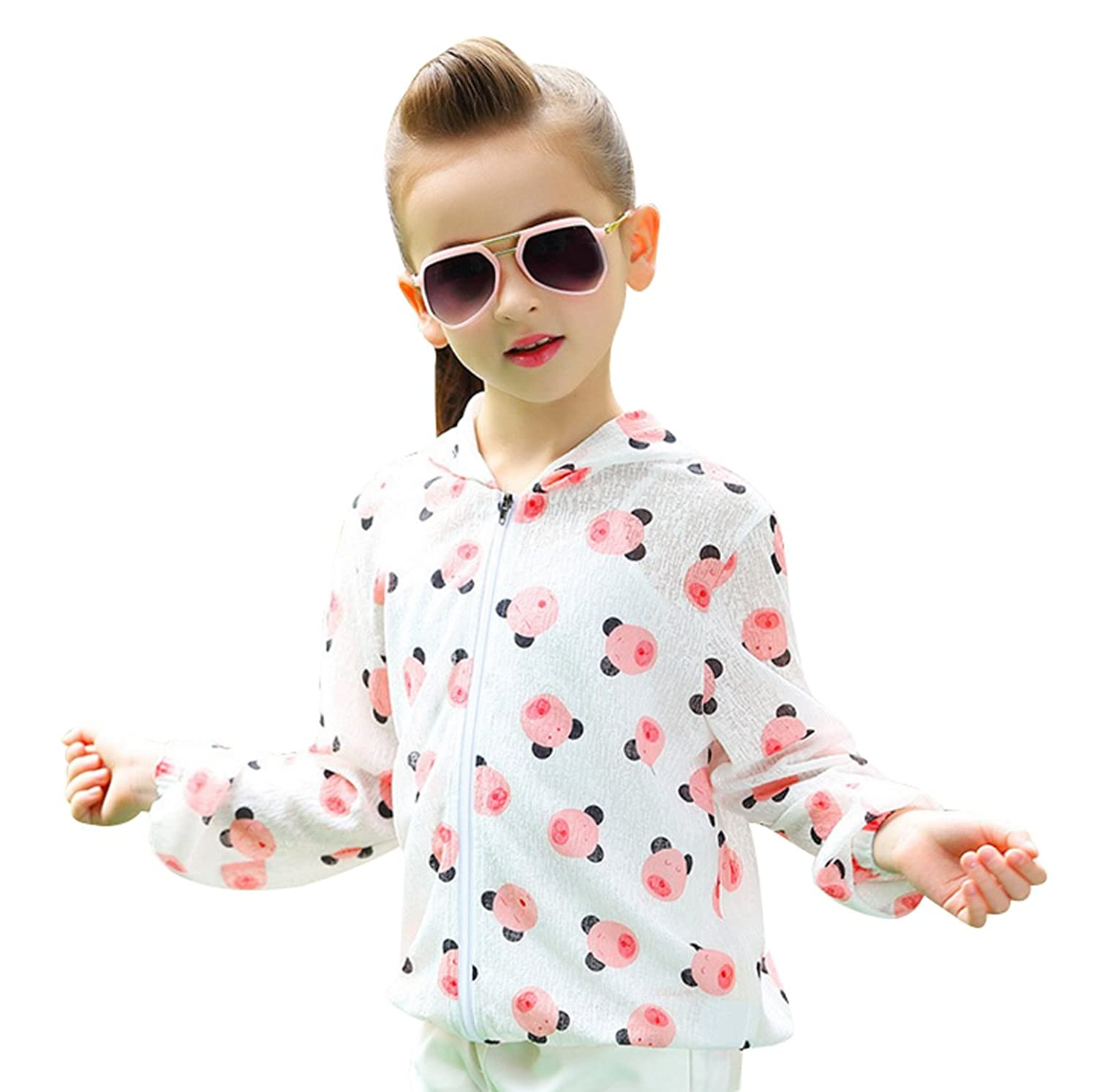 ACVIP Little Girl Spring Summer Sun Protection Printing Thin Cool Coat Hoodies