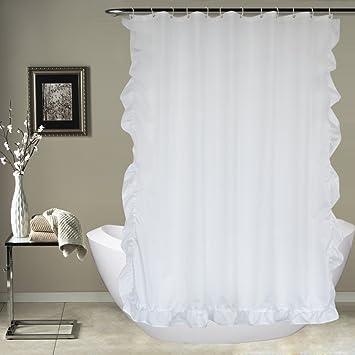 Eforcurtain Romantic White Ruffles Waterproof Shower Curtain Mildew Resistant Cloth Hotel Bath 72quot X