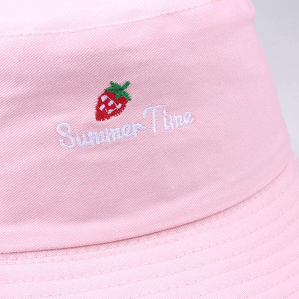Unisex Cotton Fishermans Hat Embroidery Bucket Cap Letters Strawberry Pattern Sun Hat Outdoor Foldable Flat Cap for Women Men