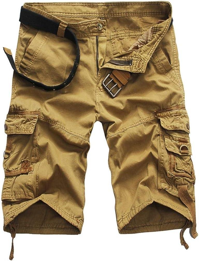 Zarupeng Herren Vintage Cargo-Shorts mit Taschen Strand Arbeits-zuf/ällige Kurze Hosen-Kurzschluss-Hosen