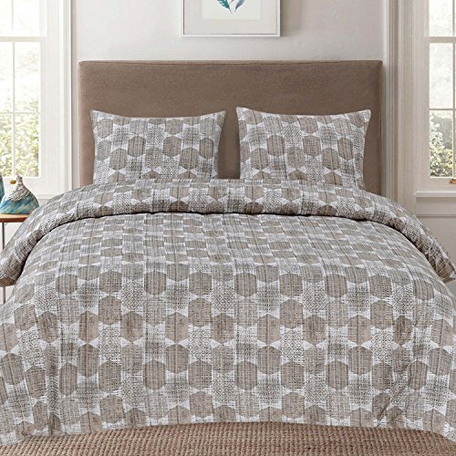 Sweet Home Collection 3 Piece Taupe Geometric Pattern Duvet Cover Set, King, Monaco