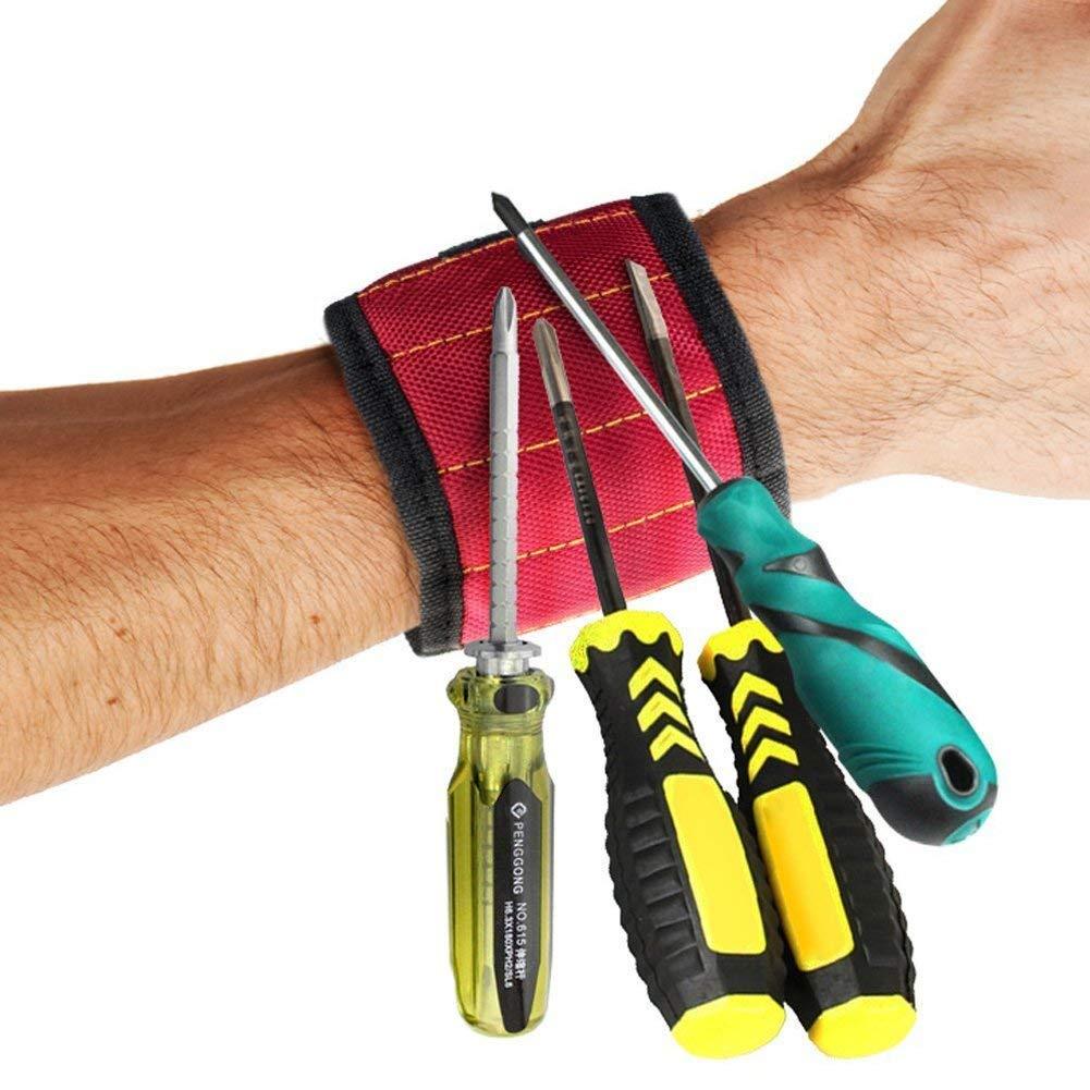 hombres mujeres Rojo pedacitos de taladro el mejor regalo de la herramienta para DIY Handyman Wristband magn/ético con los imanes fuertes para los tornillos de la explotaci/ón agr/ícola clavos