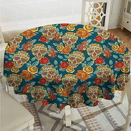 XXANS Round Tablecloth,Sugar Skull,Skulls Diamond Shapes in Eyes Roses Bouquets Colorful Pattern Artistic Print,Party Decorations Table Cover Cloth,43 INCH,Multicolor