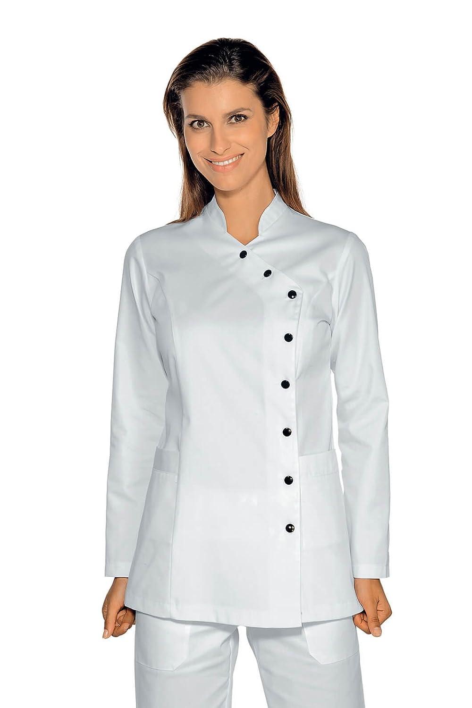 TALLA XXL. Isacco casaca Nizza Blanco, Blanco, XXL, 65% poliéster 35% algodón, manga larga, Botones con Asola