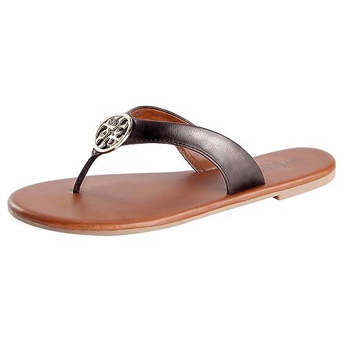 079afd48bd3d SANDALUP Women s Flip Flops Casual Flat Sandals Brown 09