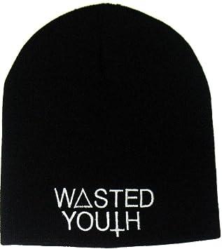 WASTED YOUTH Hardcore Punk Chopper Biker Rocker Winter Knitted Beanie Hat  Cap  Amazon.co.uk  Car   Motorbike 2185f710de4