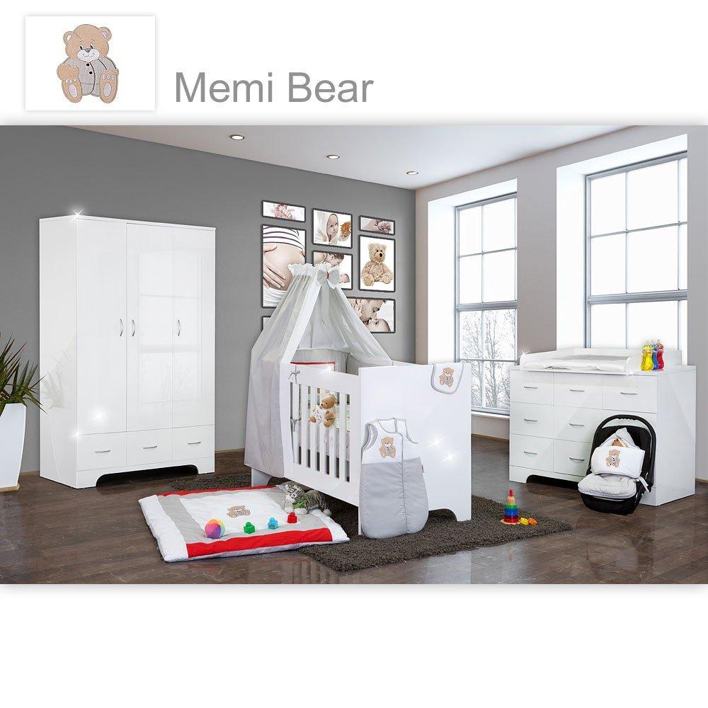 Hochglanz Babyzimmer Memi 19-tlg. mit Textilien Memi in Grau
