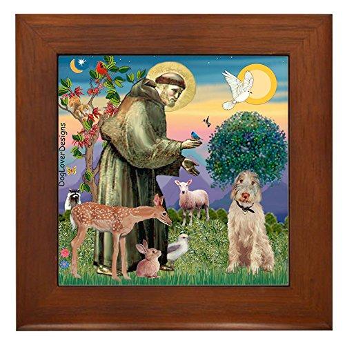 (CafePress - Saint Francis/Spinone(W) - Framed Tile, Decorative Tile Wall Hanging)