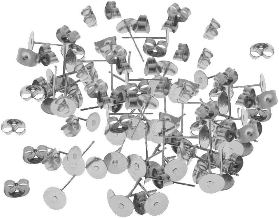 Colgante de joyería 60 pares de postes de acero inoxidable para orejas de mariposas, manualidades, pendientes